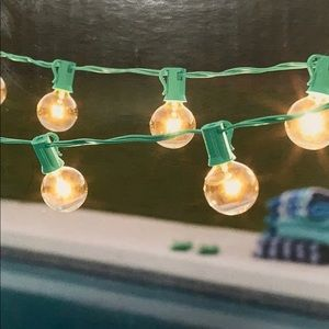 Clear Globe String Lights in Aqua